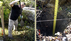Digging a two foot deep hole